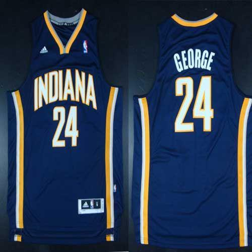 Pacers #24 Paul George Navy Blue Road Stitched NBA Jersey