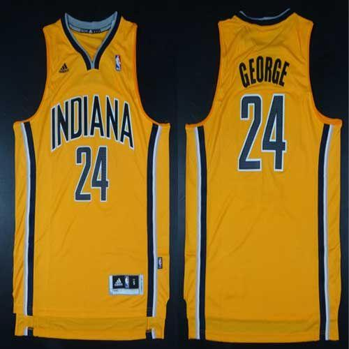 Pacers #24 Paul George Yellow Alternate Stitched NBA Jersey