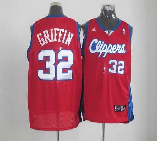 Clippers #32 Blake Griffin Red Mesh Clippers On Front Stitched NBA Jersey