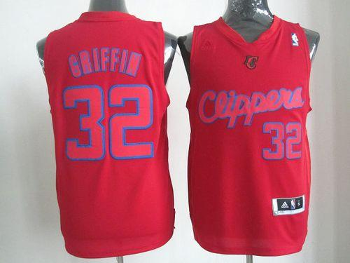 Clippers #32 Blake Griffin Red Big Color Fashion Stitched NBA Jersey