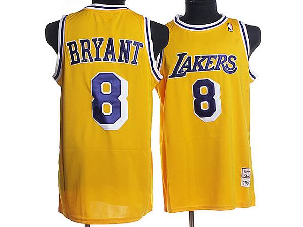Mitchell and Ness Lakers #8 Kobe Bryant Stitched Yellow Purple Letter Throwback NBA Jersey