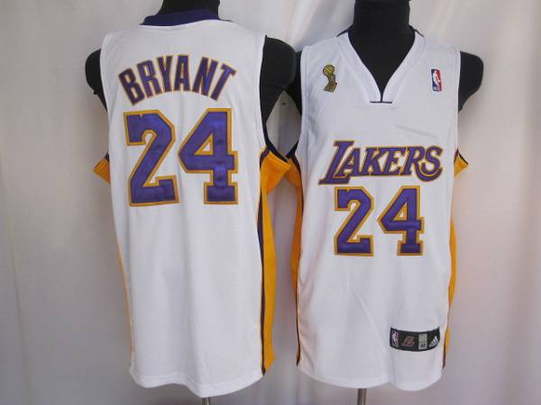 Lakers #24 Kobe Bryant Stitched White Champion Patch NBA Jersey