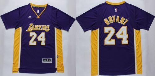Lakers #24 Kobe Bryant Purple Short Sleeve Stitched NBA Jersey ...