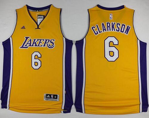 Lakers #6 Jordan Clarkson Yellow Stitched NBA Jersey ...