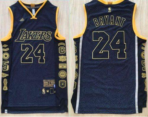Lakers #24 Kobe Bryant Black Serpentine Retirement Memorial ...