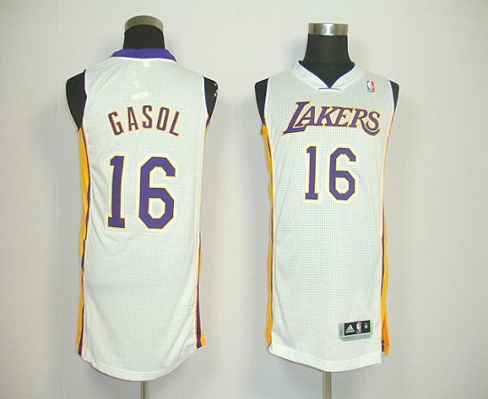 Revolution 30 Lakers #16 Pau Gasol White Stitched NBA Jersey