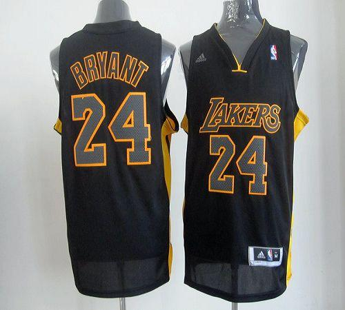 Lakers #24 Kobe Bryant Black With Gold No. Stitched NBA Jersey