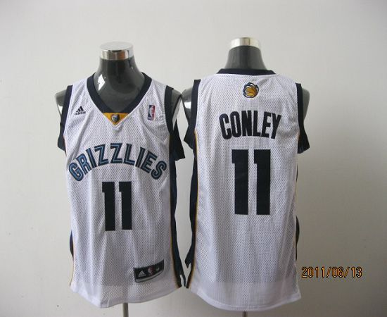 Grizzlies #11 Michael Conley Revolution 30 White Stitched NBA Jersey