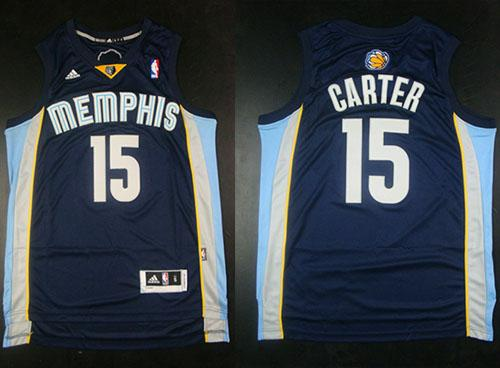 Grizzlies #15 Vince Carter Revolution 30 Dark Blue Stitched NBA Jersey