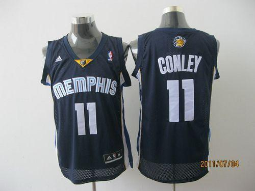 Grizzlies #11 Michael Conley Revolution 30 Dark Blue Stitched NBA Jersey