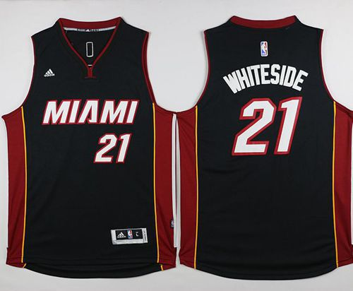Heat #21 Hassan Whiteside Black Stitched NBA Jersey