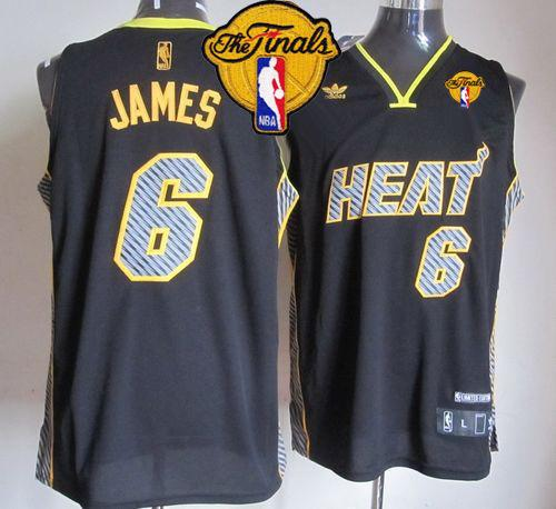 Heat #6 LeBron James Black Electricity Fashion Finals Patch Stitched NBA Jersey