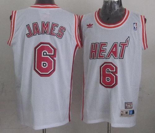 Heat #6 LeBron James White Swingman Throwback Stitched NBA Jersey