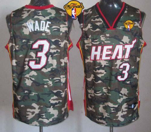 Heat #3 Dwyane Wade Camo Stealth Collection Finals Patch Stitched NBA Jersey