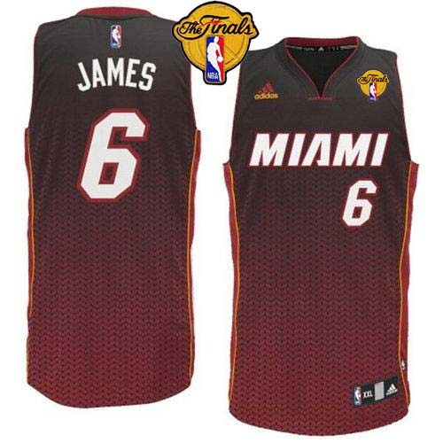 Heat #6 LeBron James Black Resonate Fashion Swingman Finals Patch Stitched NBA Jersey