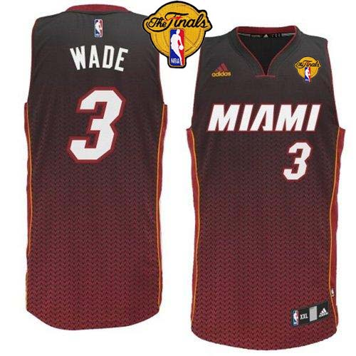Heat #3 Dwyane Wade Black Resonate Fashion Swingman Finals Patch Stitched NBA Jersey