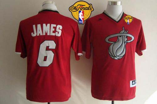 Heat #6 LeBron James Red 2013 Christmas Day Swingman Finals Patch Stitched NBA Jersey