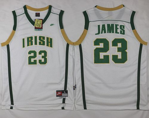 Heat #23 LeBron James White Irish High School Stitched NBA Jersey