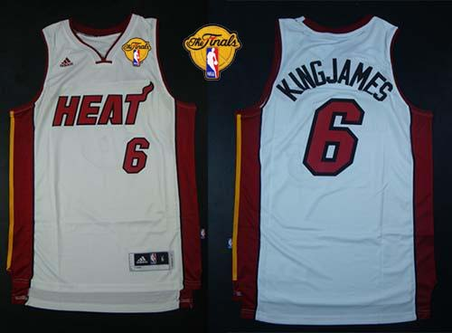 Heat #6 LeBron James White Nickname King James Finals Patch Stitched NBA Jersey