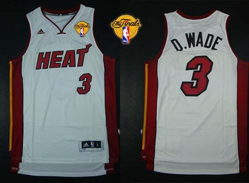 Heat #3 Dwyane Wade White Nickname D.WADE Finals Patch Stitched NBA Jersey