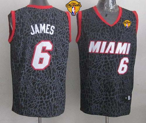Heat #6 LeBron James Black Crazy Light Finals Patch Stitched NBA Jersey