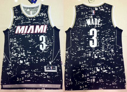 Heat #3 Dwyane Wade Black City Light Stitched NBA Jersey