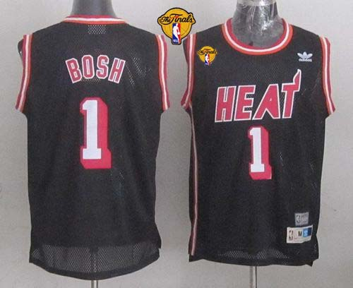Heat #1 Chris Bosh Black Hardwood Classics Nights Finals Patch Stitched NBA Jersey