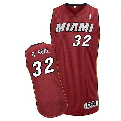 Heat #32 Shaquille O'Neal Red Throwback Stitched NBA Jersey