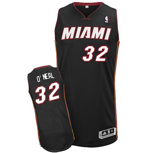 Heat #32 Shaquille O'Neal Black Throwback Stitched NBA Jersey