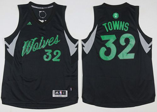 Timberwolves #32 Karl-Anthony Towns Black 2016-2017 Christmas Day Stitched NBA Jersey