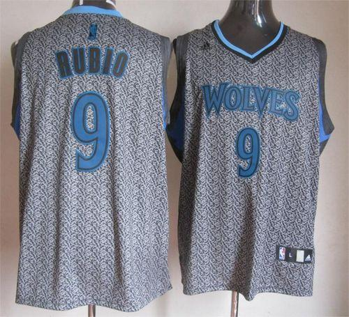 Timberwolves #9 Ricky Rubio Grey Static Fashion Stitched NBA Jersey