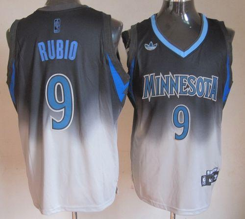 Timberwolves #9 Ricky Rubio Black/Grey Fadeaway Fashion Stitched NBA Jersey