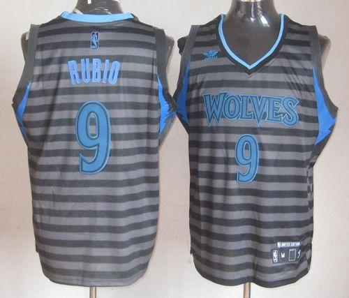 Timberwolves #9 Ricky Rubio Black/Grey Groove Stitched NBA Jersey