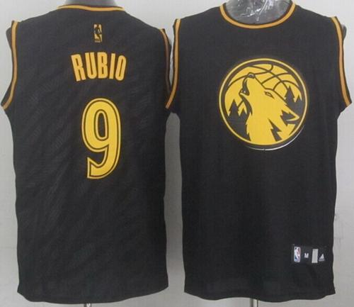 Timberwolves #9 Ricky Rubio Black Precious Metals Fashion Stitched NBA Jersey