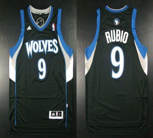 Timberwolves #9 Ricky Rubio Revolution 30 Black Stitched NBA Jersey