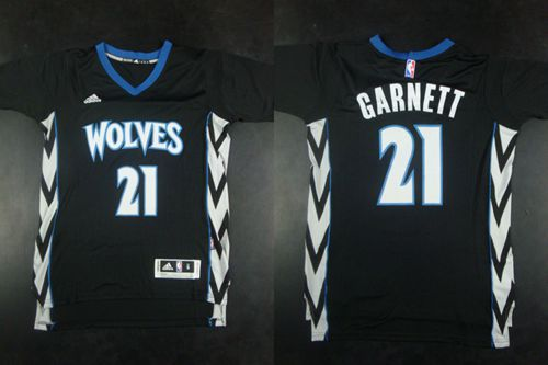 Timberwolves #21 Kevin Garnett Black Alternate Stitched NBA Jersey