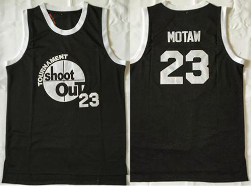 Tournament Shoot Out #23 Motaw Black Stitched Basketball Jersey