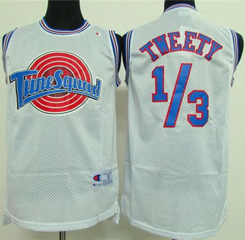 Space Jam Tune Squad 1/3 Tweety White Stitched Basketball Jersey