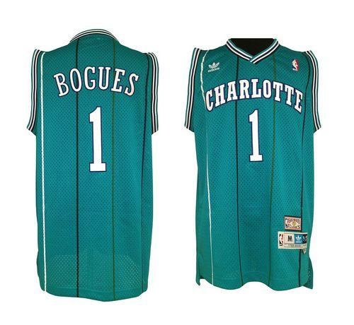 Hornets #1 Muggsy Bogues Green Charlotte Hornets Stitched NBA Jersey
