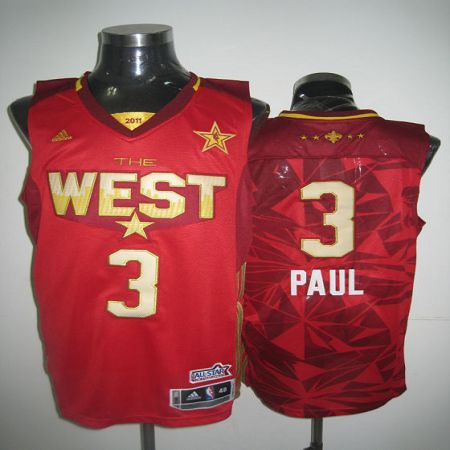 Hornets #3 Chris Paul 2011 All Star Red Stitched NBA Jersey