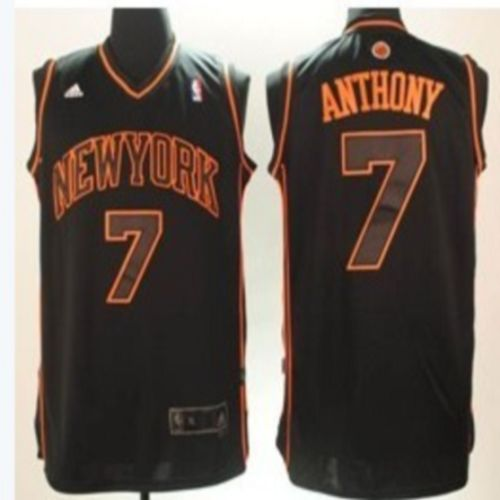 Knicks #7 Carmelo Anthony Swingman Black With Orange Number Stitched NBA Jersey