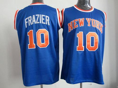 Mitchell And Ness Knicks #10 Walt Frazier Blue Throwback Stitched NBA Jersey