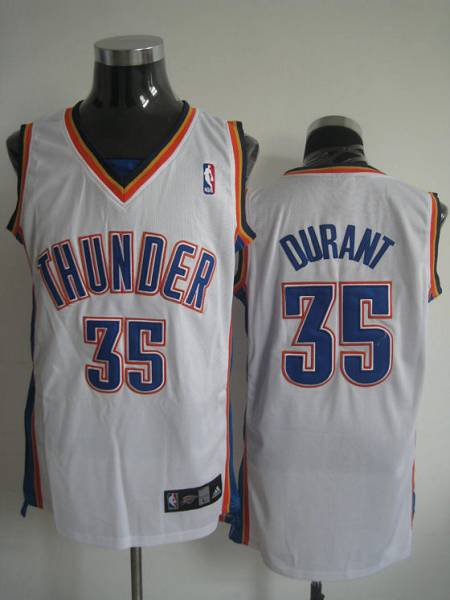 Thunder #35 Kevin Durant Stitched White NBA Jersey