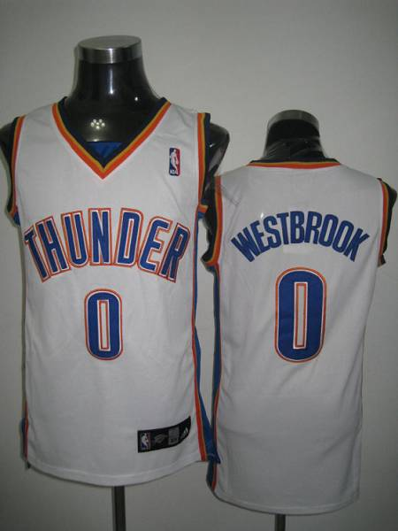 Thunder #0 Russell Westbrook Stitched White NBA Jersey