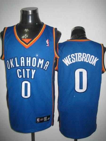 Thunder #0 Russell Westbrook Stitched Blue NBA Jersey