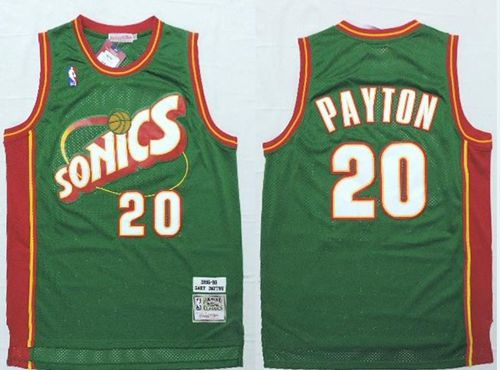 Mitchell And Ness Thunder #20 Gary Payton Green SuperSonics Stitched NBA Jersey
