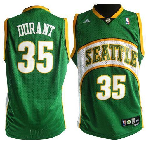 Thunder #35 Kevin Durant Green Seattle SuperSonics Style Stitched NBA Jersey