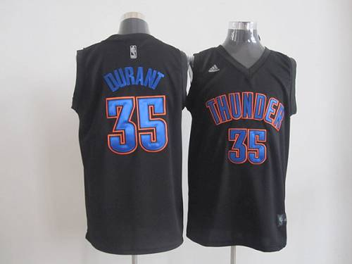 Thunder #35 Kevin Durant Black Fashion Stitched NBA Jersey