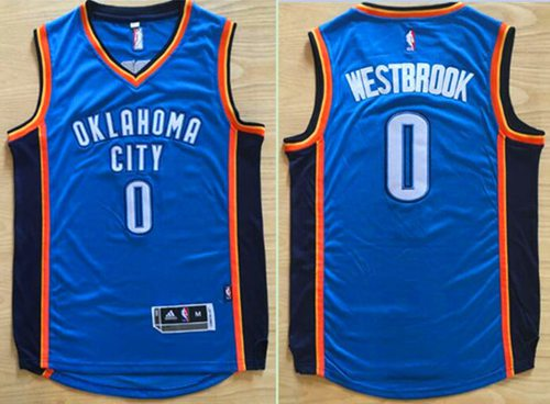 Thunder #0 Russell Westbrook Blue Revolution 30 Stitched NBA Jersey