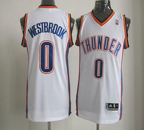Thunder #0 Russell Westbrook White Revolution 30 Stitched NBA Jersey
